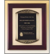 P4139 Plaque with brush Gold Metal Background